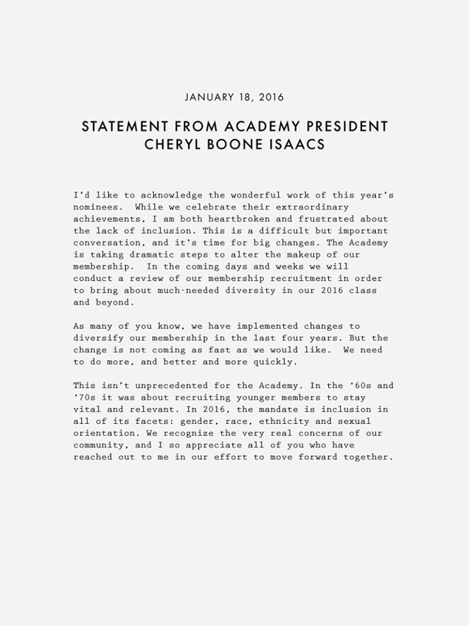 Open Letter to the Academy