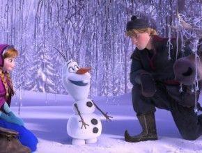 Anna, Kristoff y Olaf en la nieve
