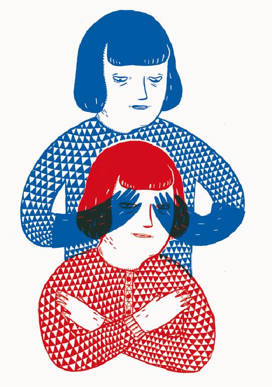 Una mujer se tapa a sí misma los ojos: síndrome de la impostora.