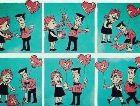 Un hombre le pone un parche al corazón de una mujer.
