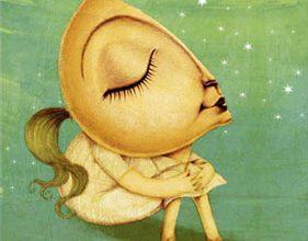 Ilustración de una chica cuya cara es media naranja