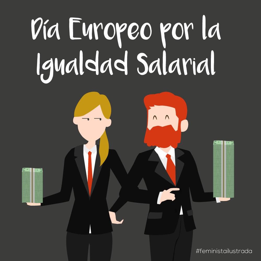 Un hombre y una mujer sujetan los billetes que representan sus desiguales sueldos